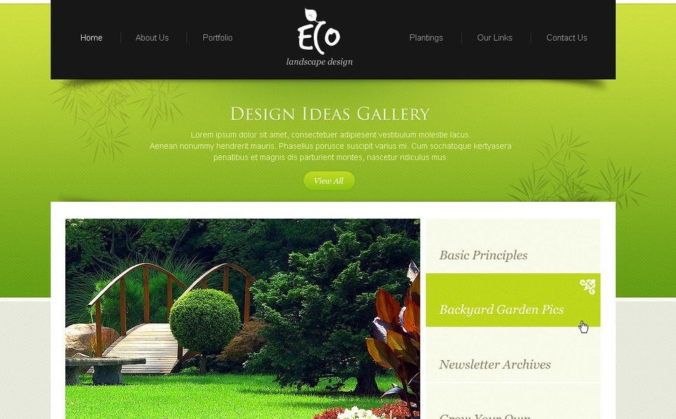 PSD šablona Design zahrady New Screenshots BIG