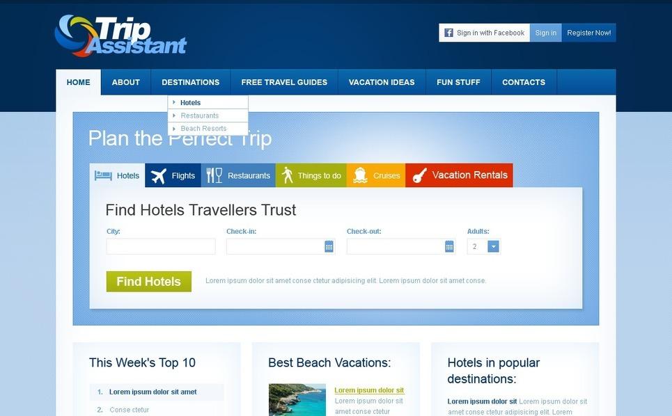 Szablon PSD #57154 na temat: przewodnik turystyczny New Screenshots BIG