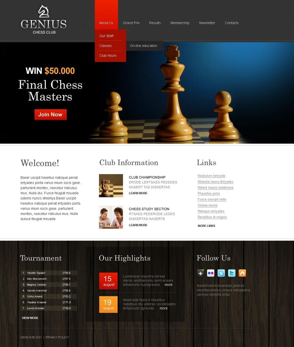 Chess PSD Template New Screenshots BIG