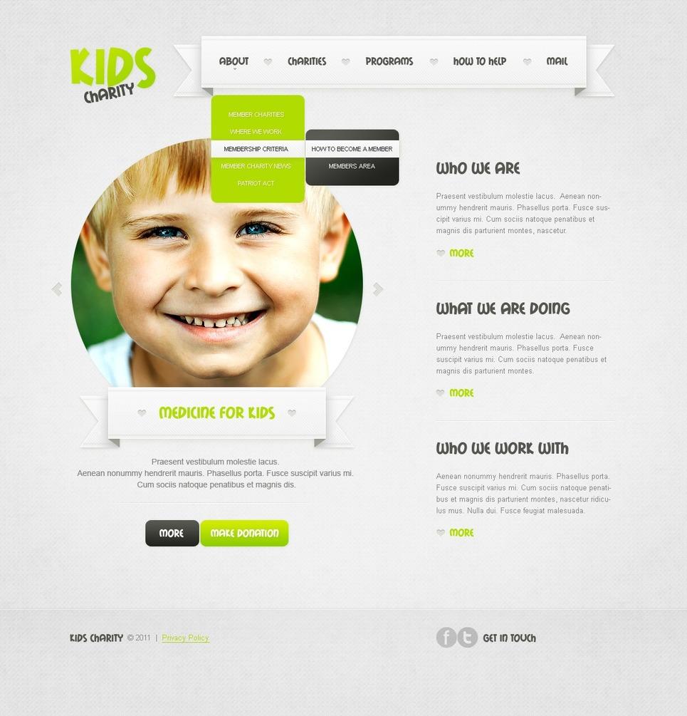 Tema psd 57134 per un sito di beneficenza per bambini - Modello di foglia per bambini ...