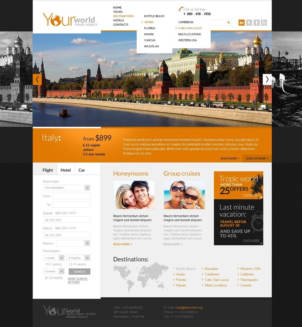 Travel Agency PSD Template #57142