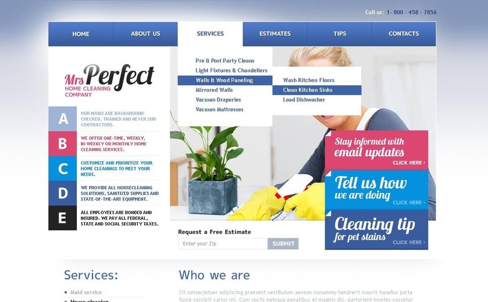 PSD Template over Schoonmaakbedrijf  New Screenshots BIG