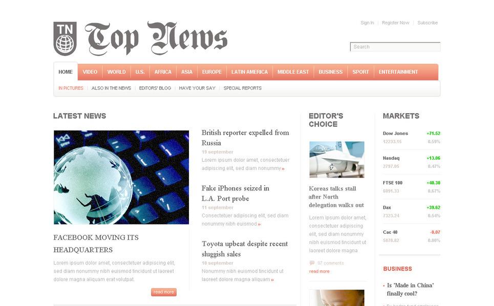 PSD Vorlage für Nachrichtenportal  New Screenshots BIG