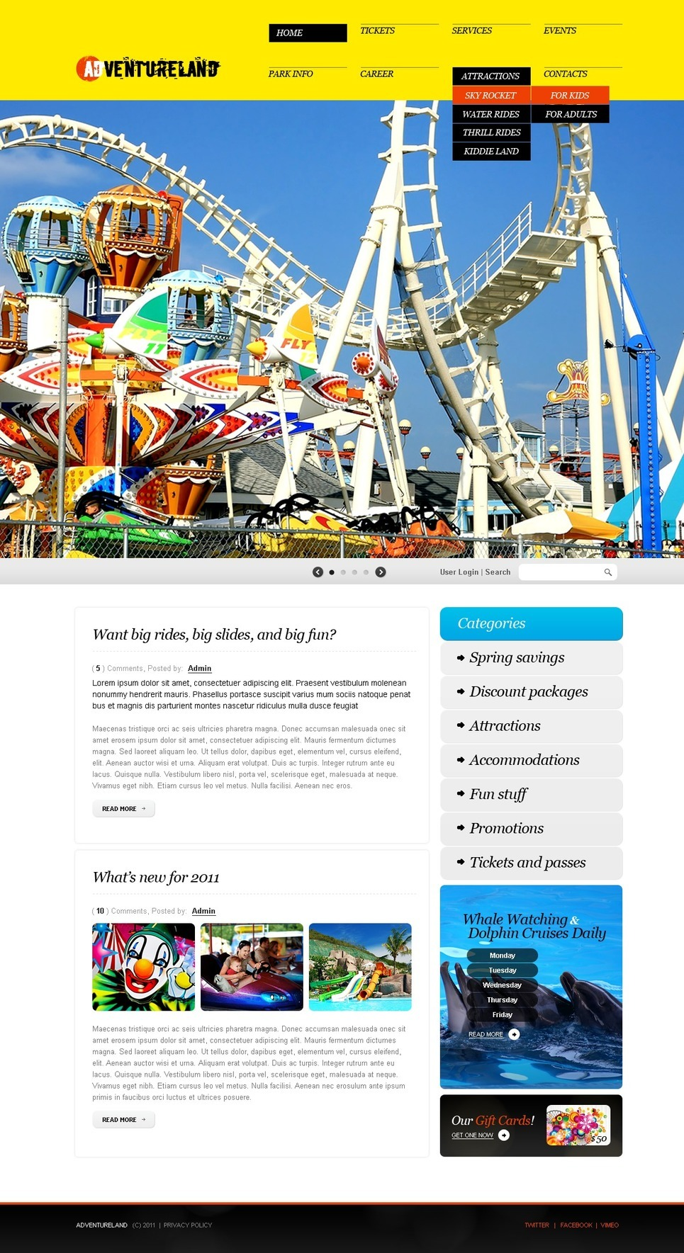 Amusement Park PSD Template New Screenshots BIG