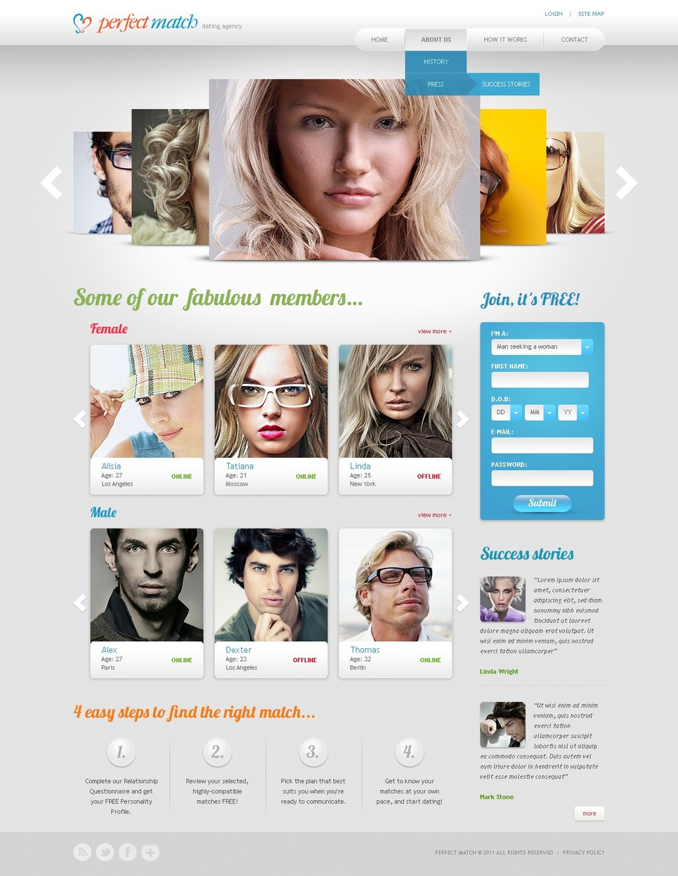 Free templates for dating site