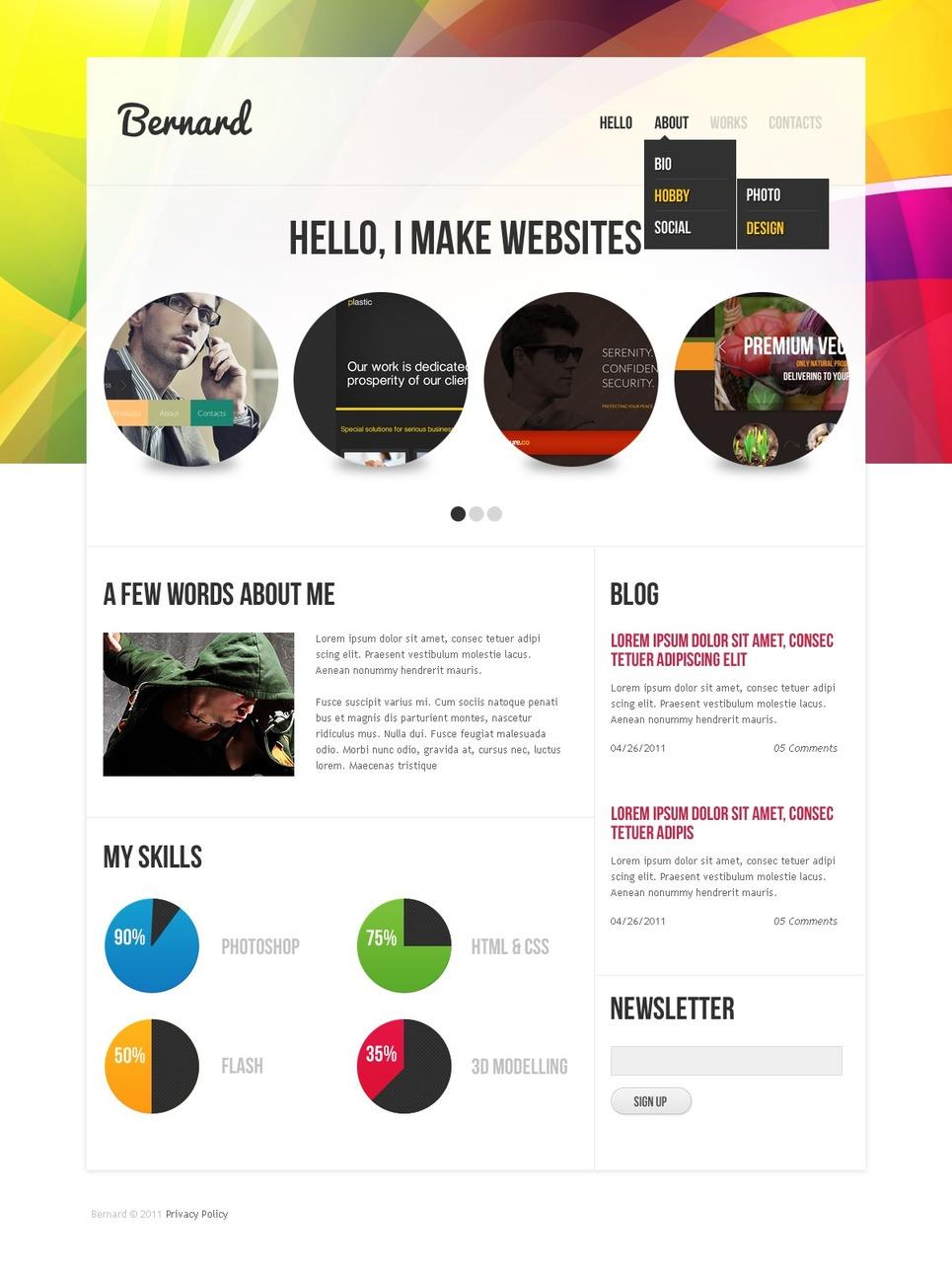 Designer Portfolio PSD Template #57233