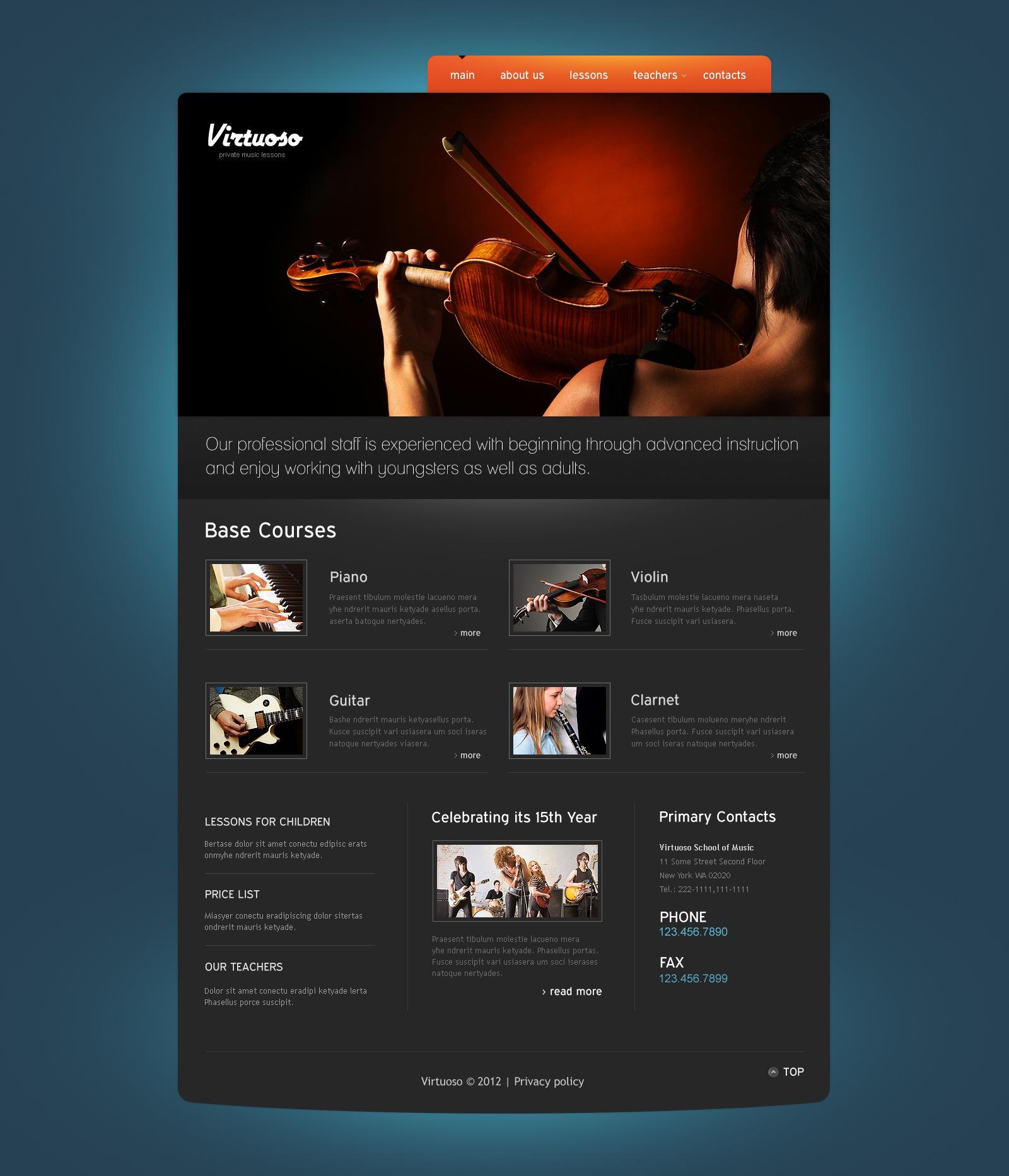 Music School PSD Template #57207