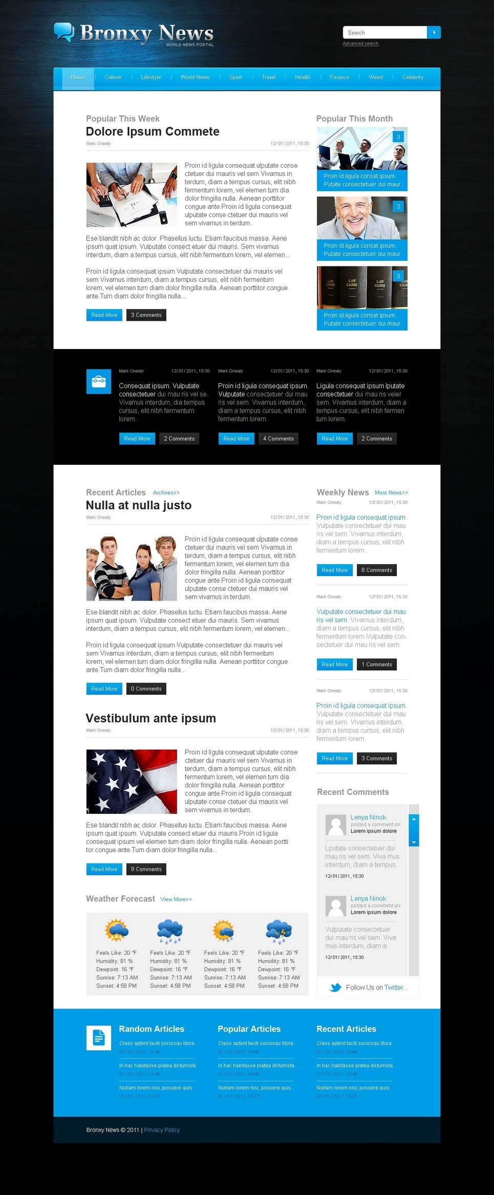 News Portal PSD Template 57218 – News Report Template