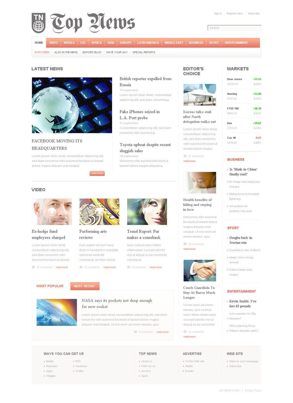 News Portal PSD Template New Screenshots BIG