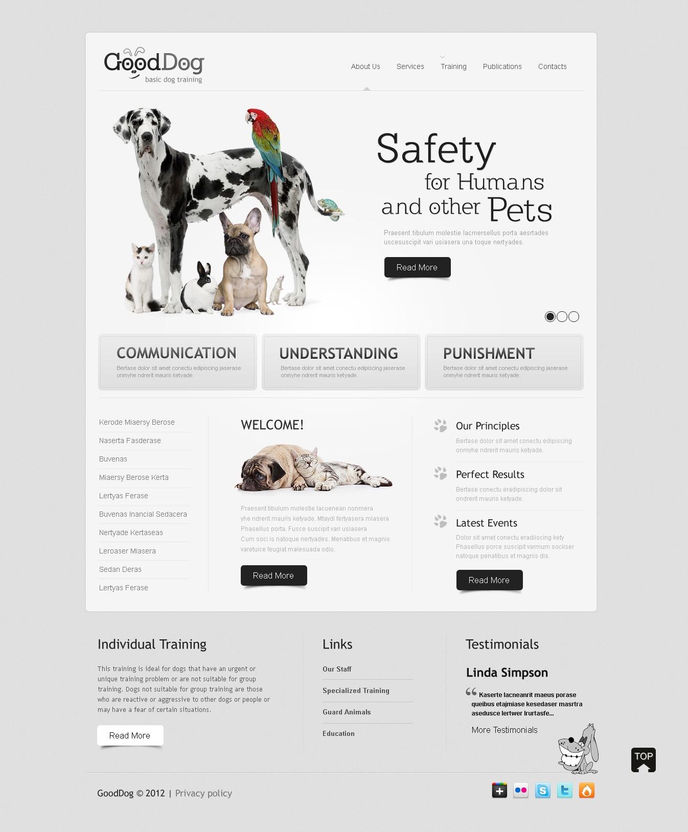 Tema PSD #57255 per Un Sito di Cani