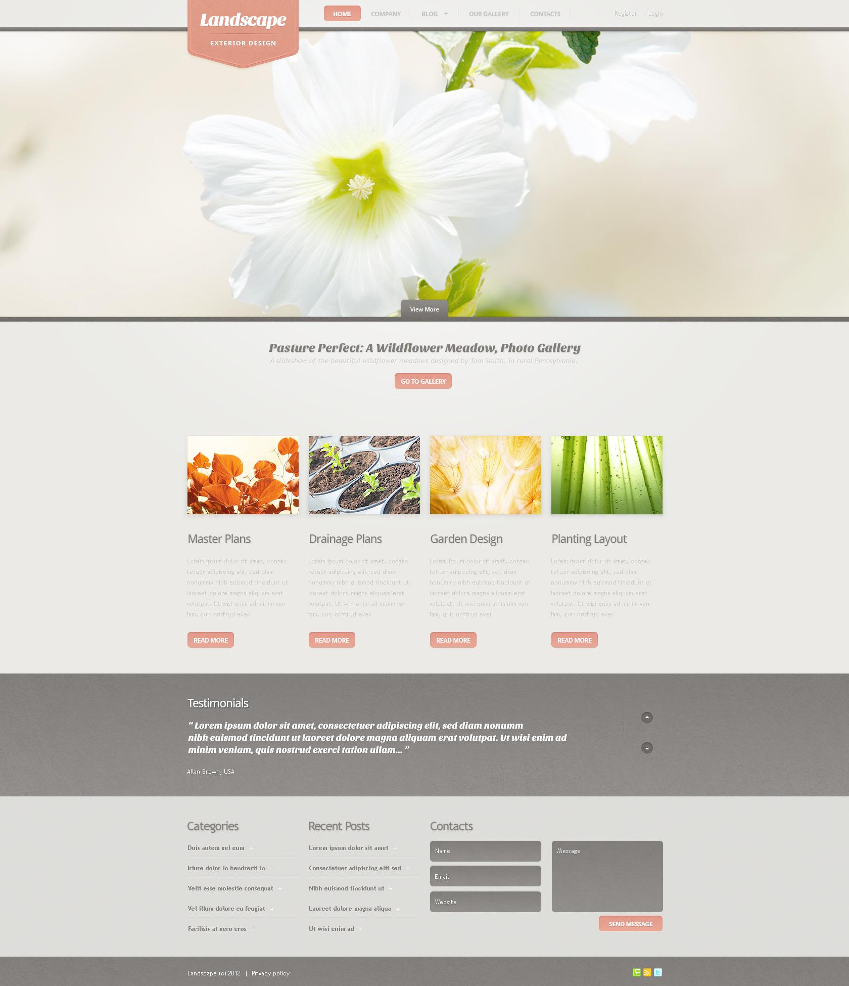 Template Photoshop para Sites de Design de Paisagem №57295 - screenshot