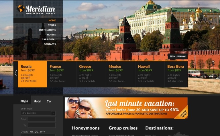 Travel Agency PSD Template #57231
