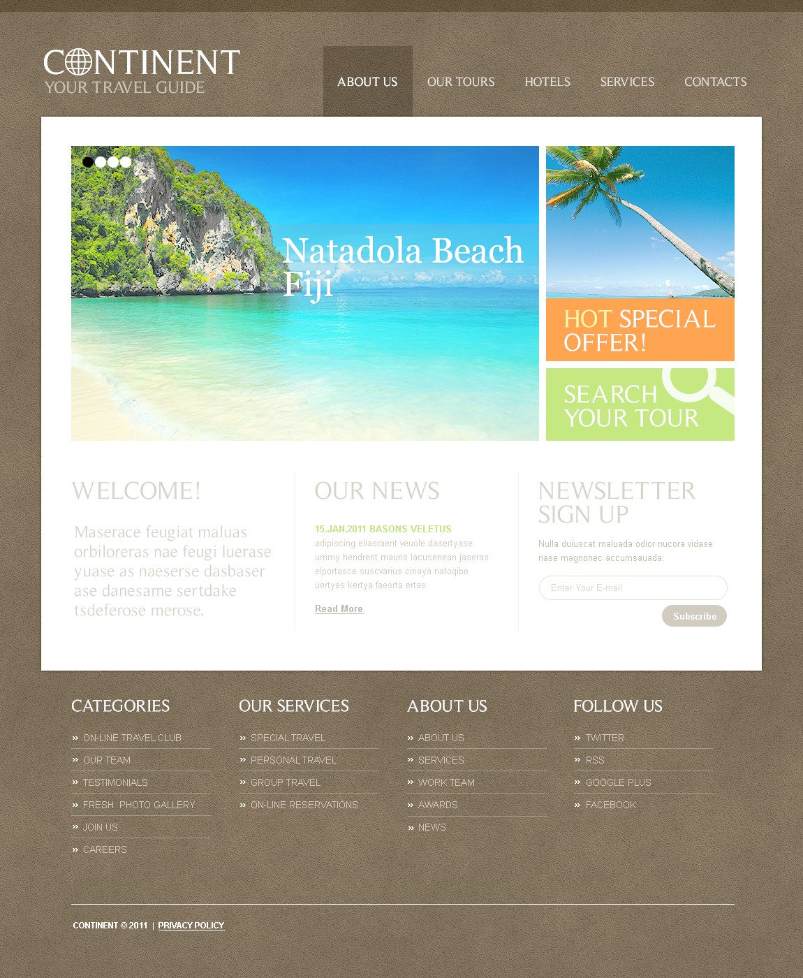 Travel Guide PSD Template