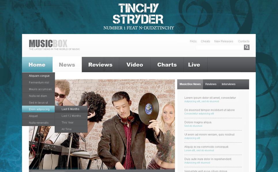 Szablon PSD #57359 na temat: DJ New Screenshots BIG