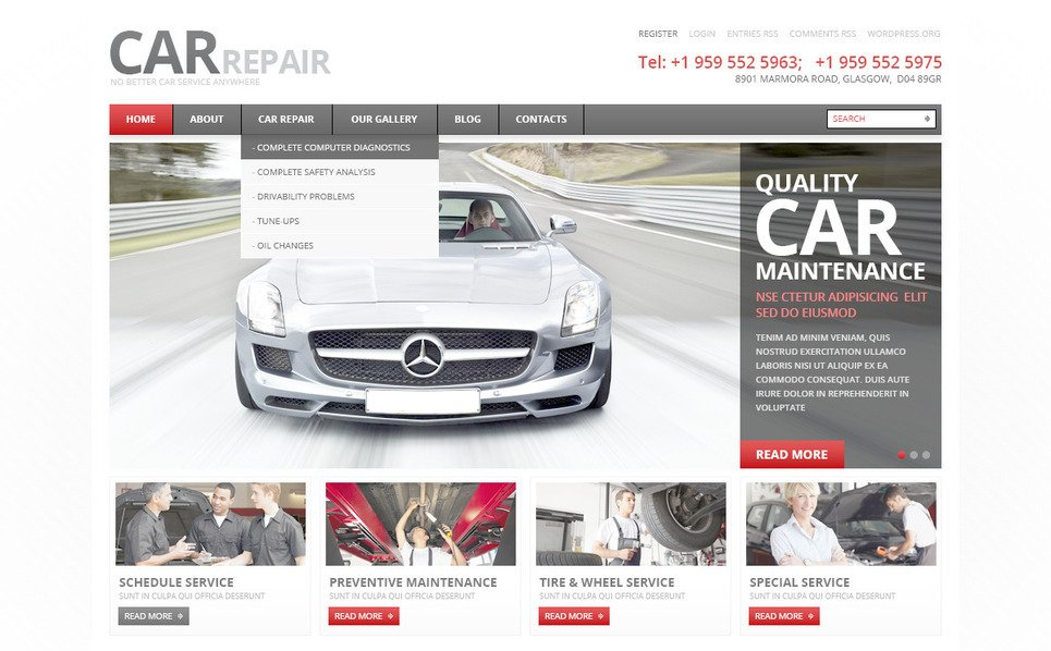 PSD Template over Autoreparatie  New Screenshots BIG