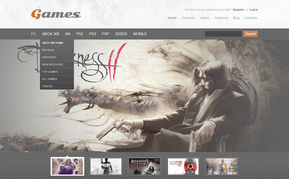 PSD šablona Herní portál New Screenshots BIG