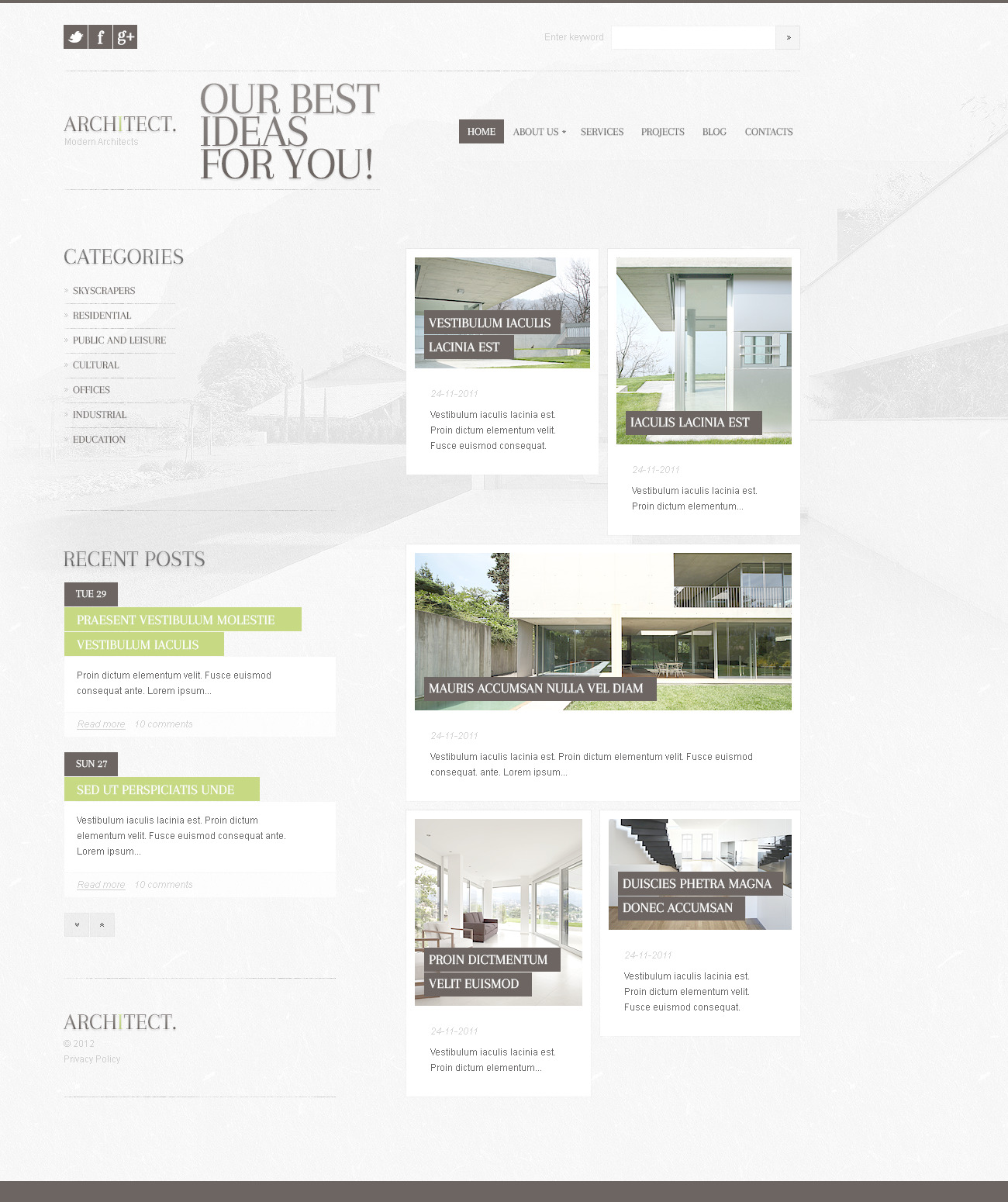 Architecture PSD Template - screenshot