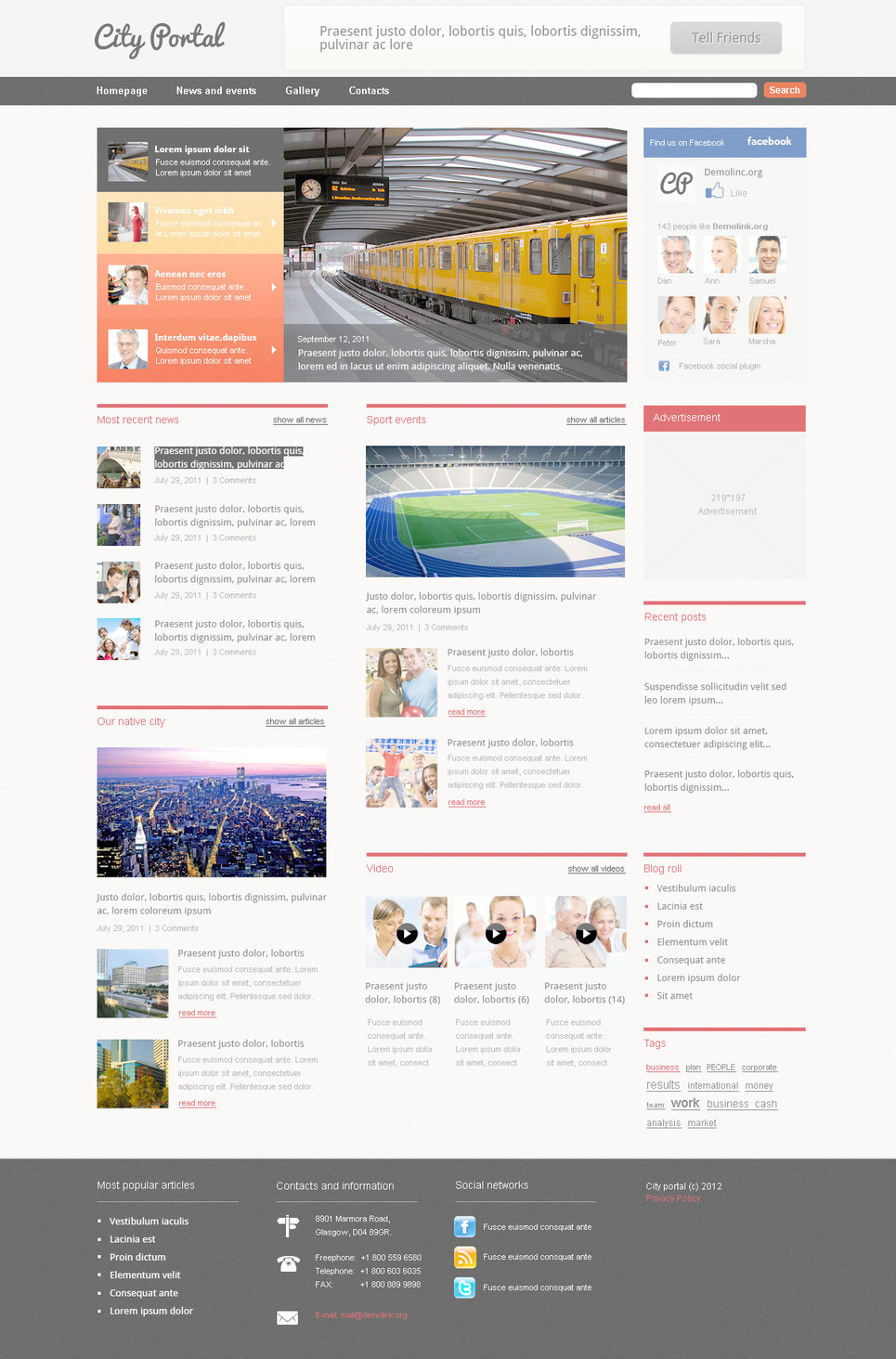 City Portal PSD Template New Screenshots BIG