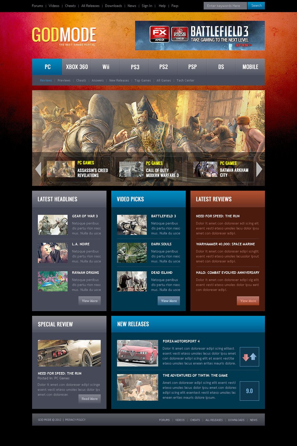Game Portal PSD Template New Screenshots BIG