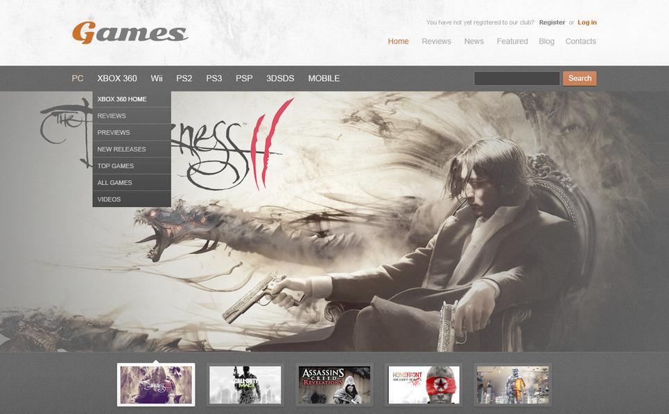 PSD Vorlage für Spieleportal- New Screenshots BIG
