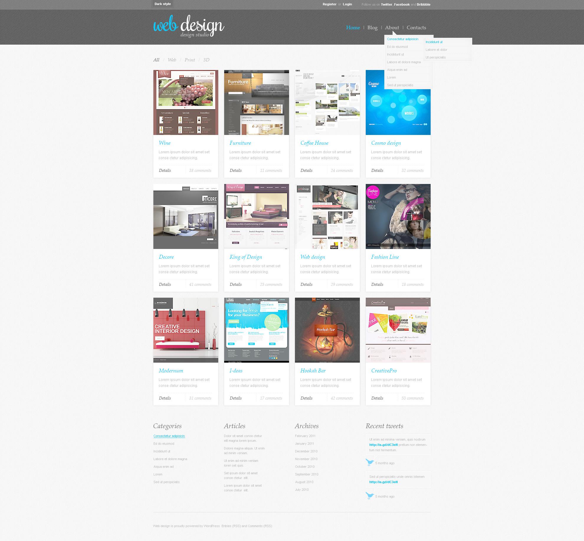 Tema psd 57312 per un sito di web design for Sito di design