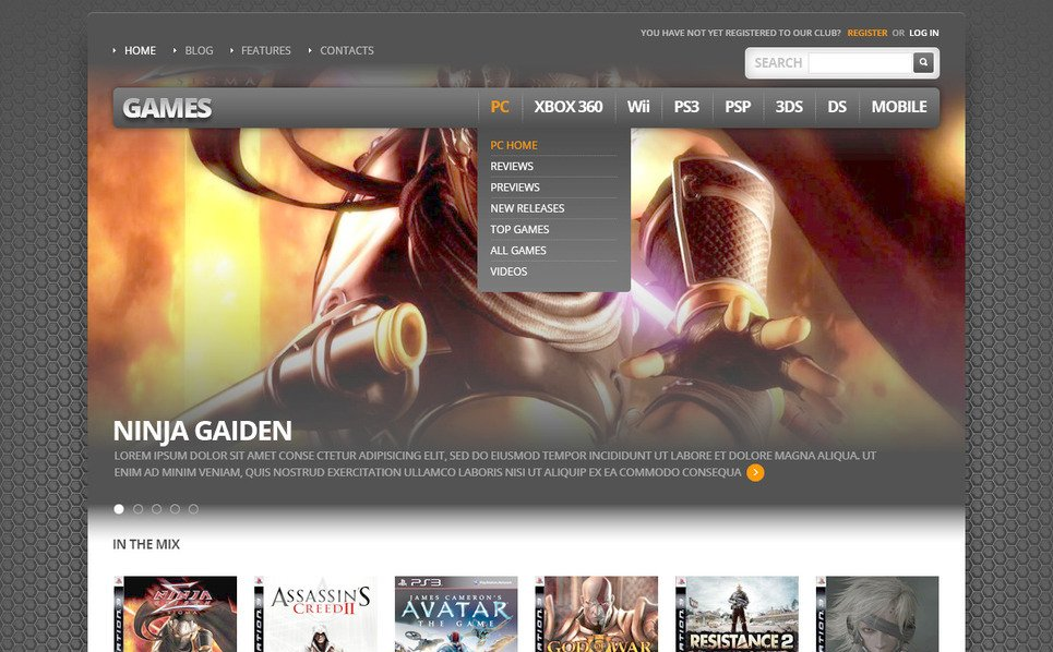 PSD шаблон на тему ігровий портал New Screenshots BIG