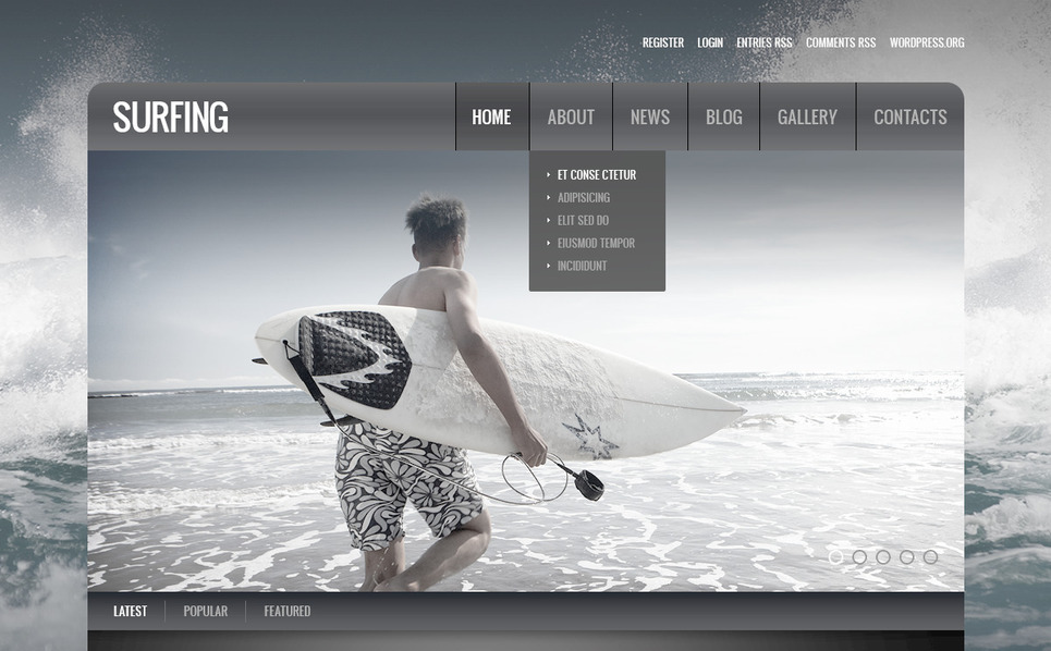 Plantilla PSD #57432 para Sitio de Surf New Screenshots BIG