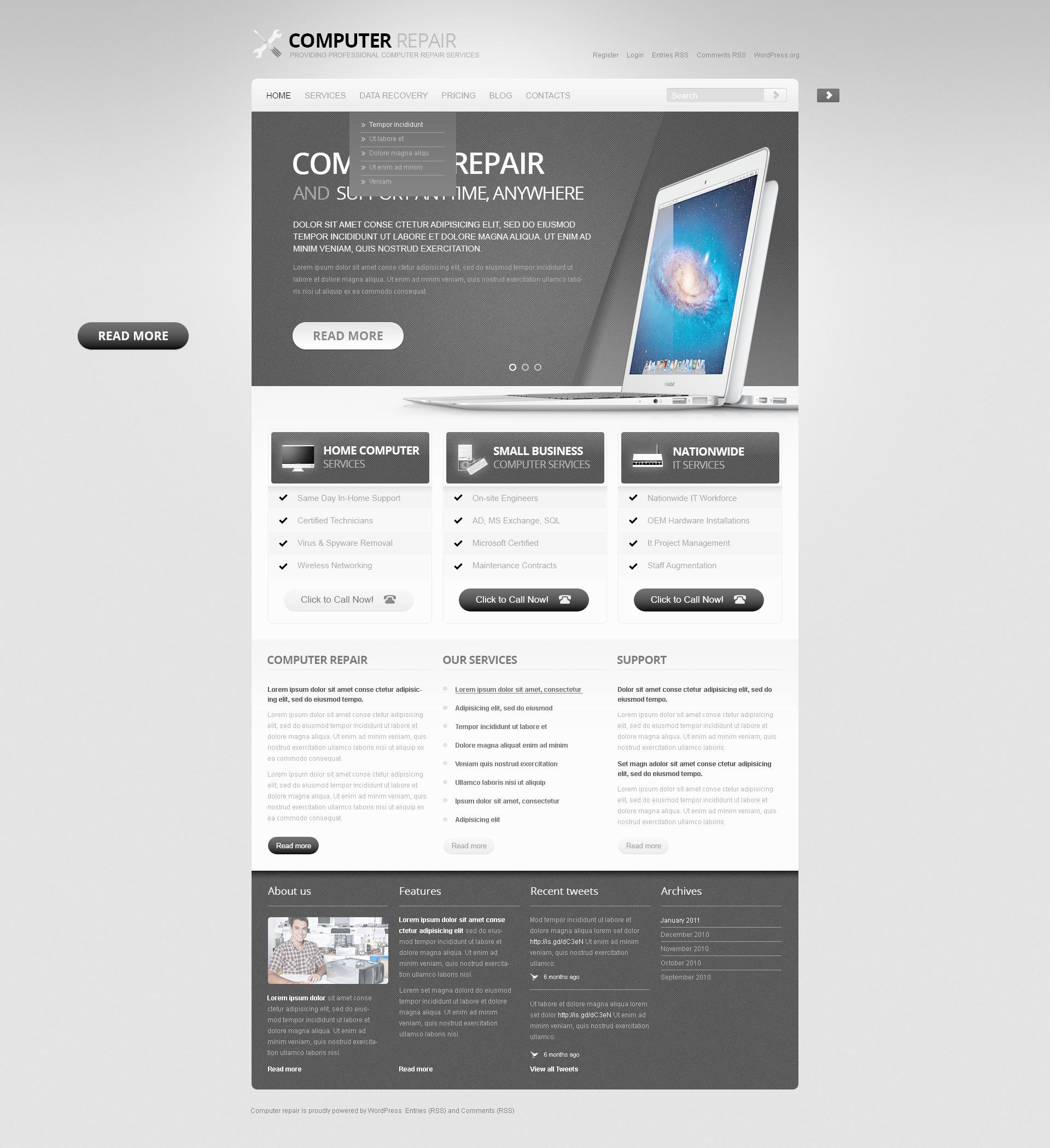 Computer Repair PSD Template - screenshot