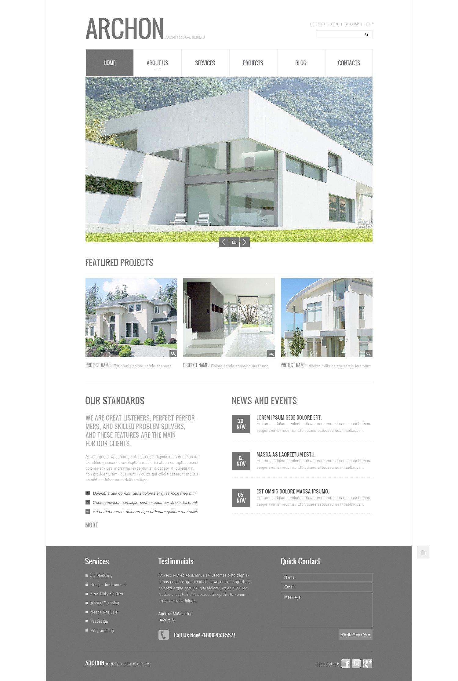 Modello PSD #57422 per Un Sito di Architettura - screenshot