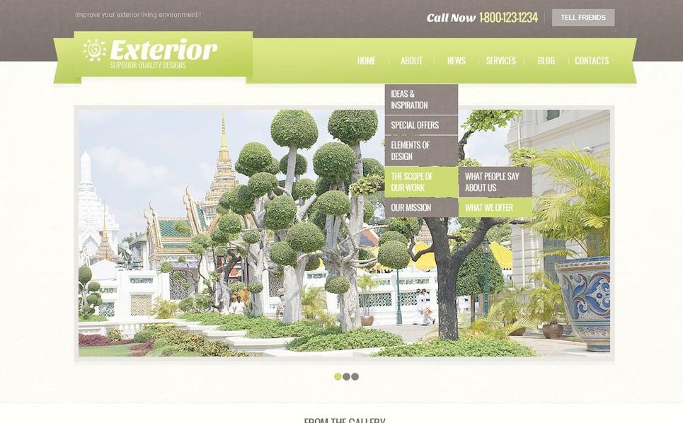 Plantilla PSD #57461 para Sitio de Diseño de exteriores New Screenshots BIG