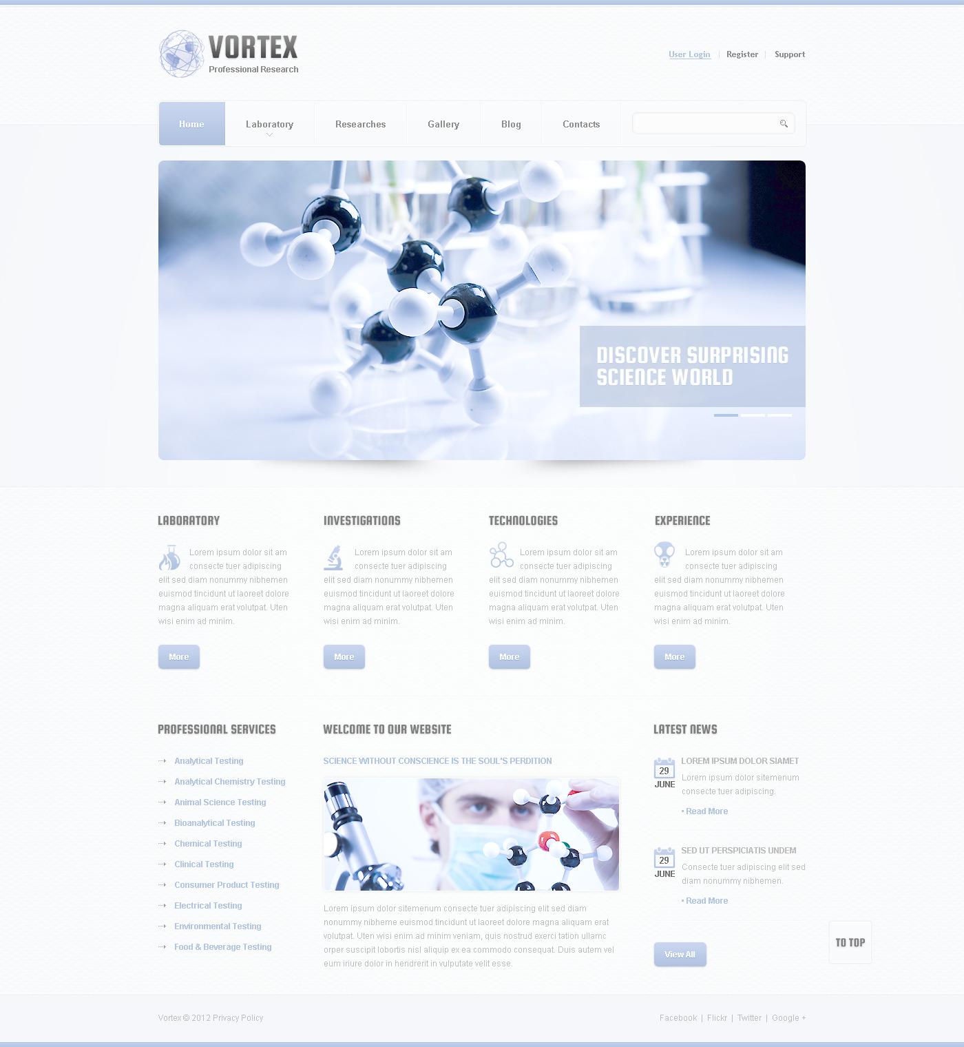 Plantilla PSD #57493 para Sitio de Ciencia
