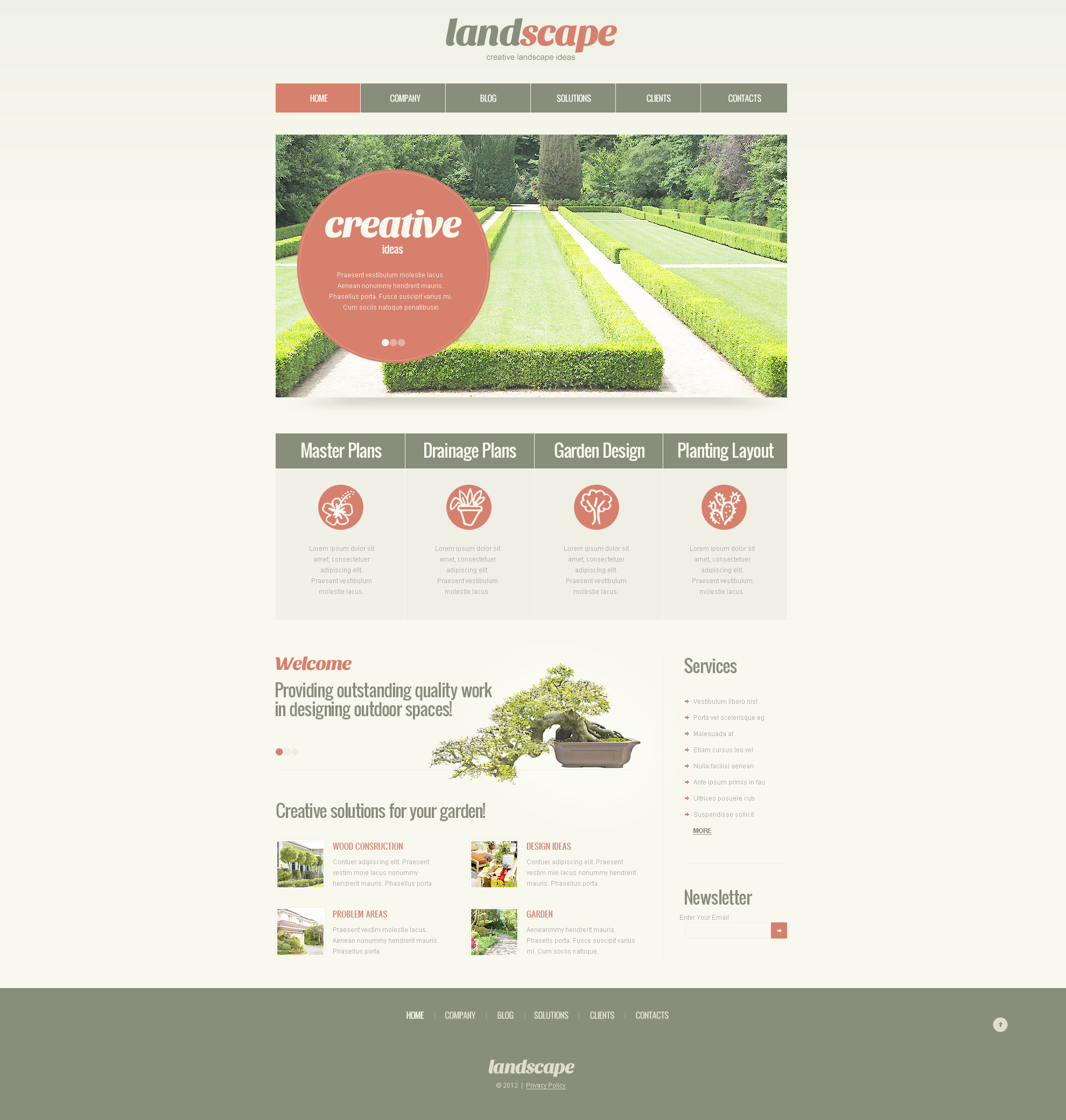 Plantilla PSD #57455 para Sitio de Diseño de paisaje