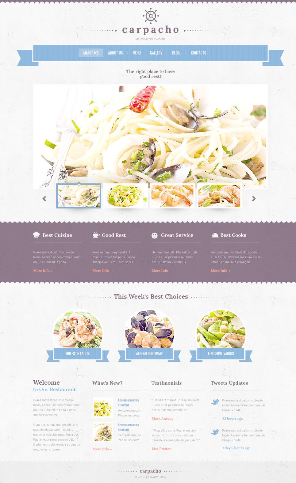 Plantilla PSD #57417 para Sitio de Restaurantes de mariscos