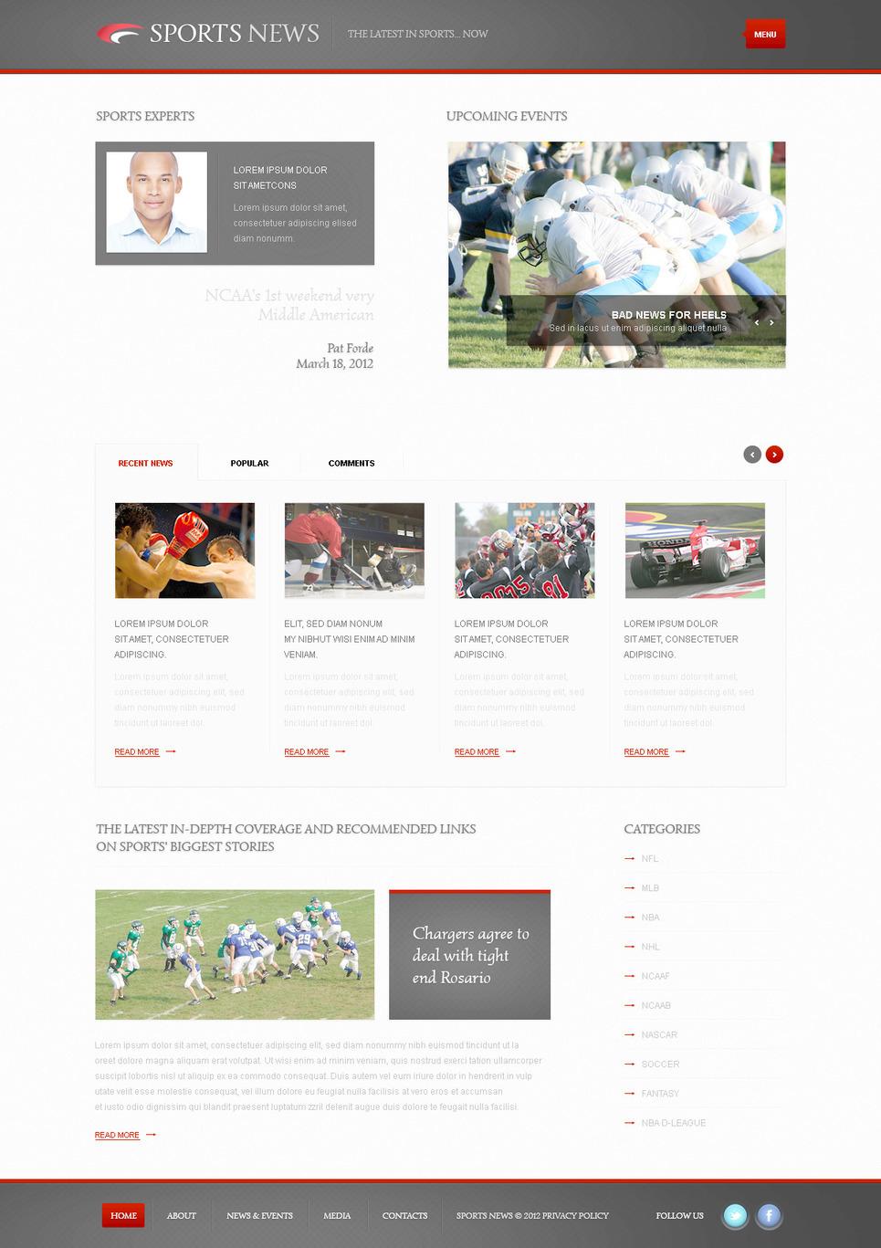 Sports News PSD Template New Screenshots BIG