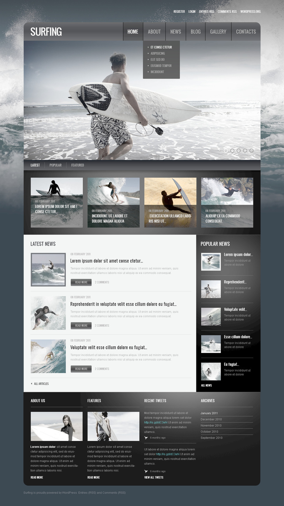 Surfing PSD Template New Screenshots BIG