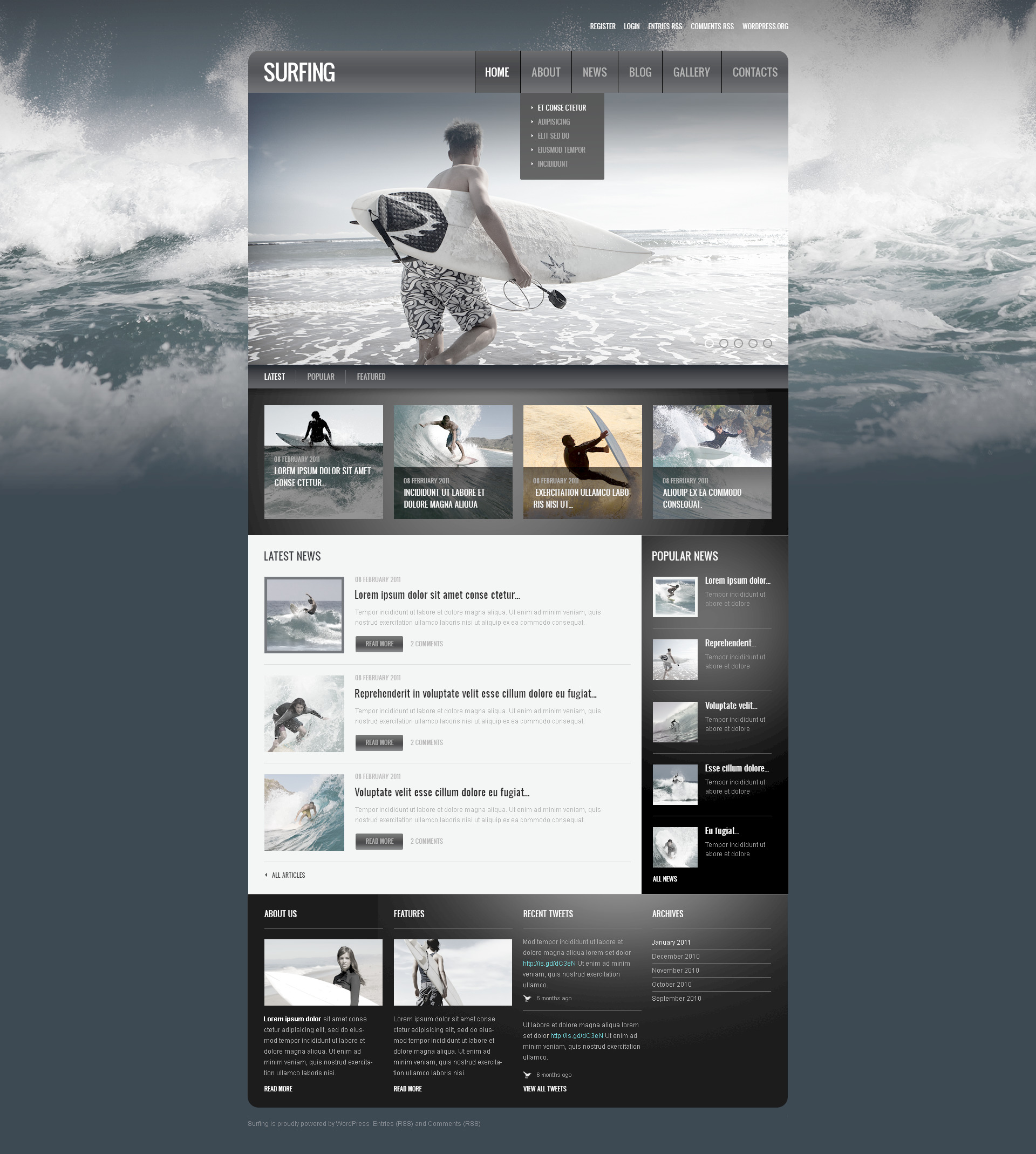 Surfing PSD Template