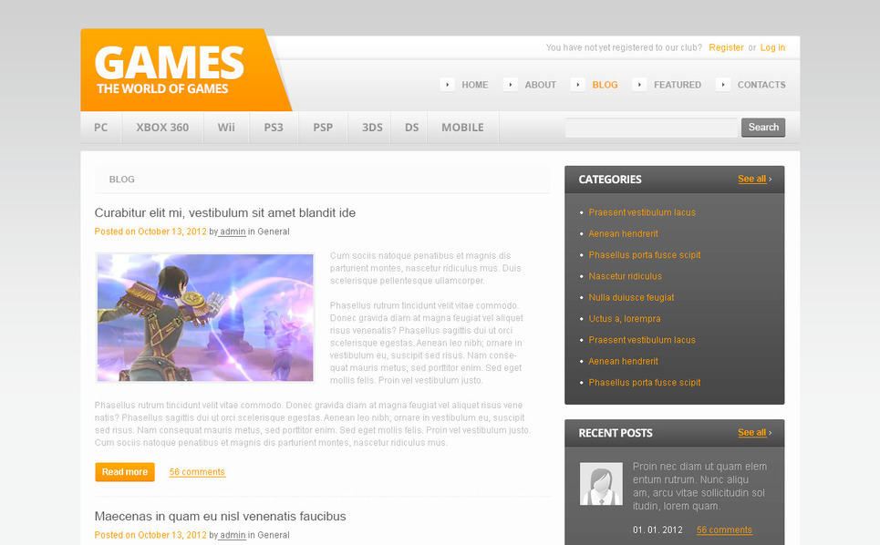 Template Photoshop  para Sites de Jogos №57454 New Screenshots BIG