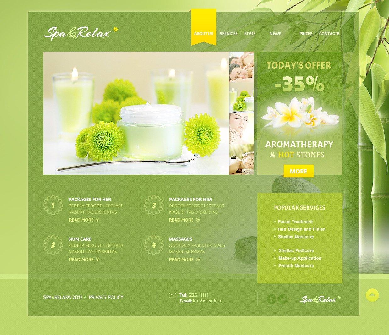 Template Photoshop para Sites de Salão de Beleza №57404