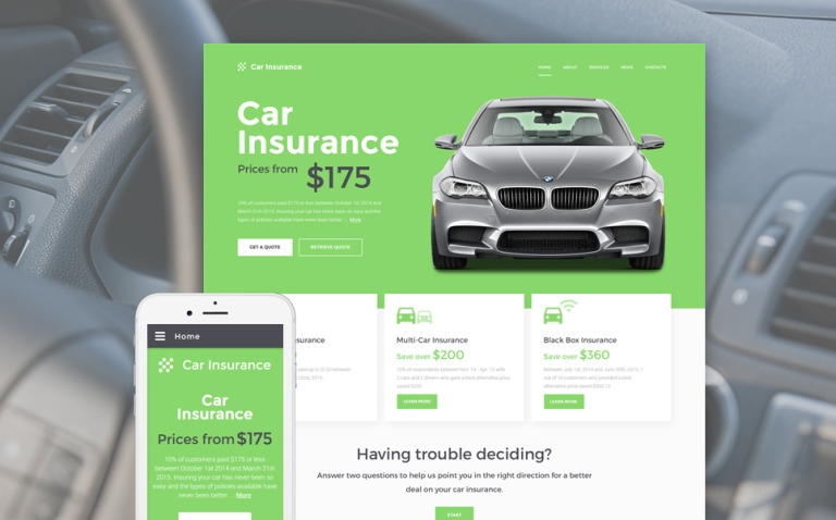 car insurance website template  Car Insurance Responsive Website Template #57558