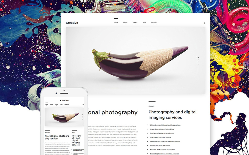 Creative WordPress Theme New Screenshots BIG