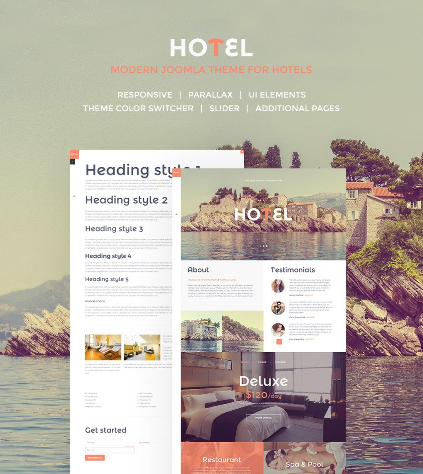 Hotels responsive joomla template 57561 for Joomla hotel template