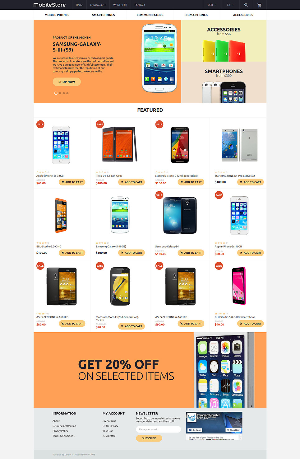 MobileStore OpenCart Template New Screenshots BIG