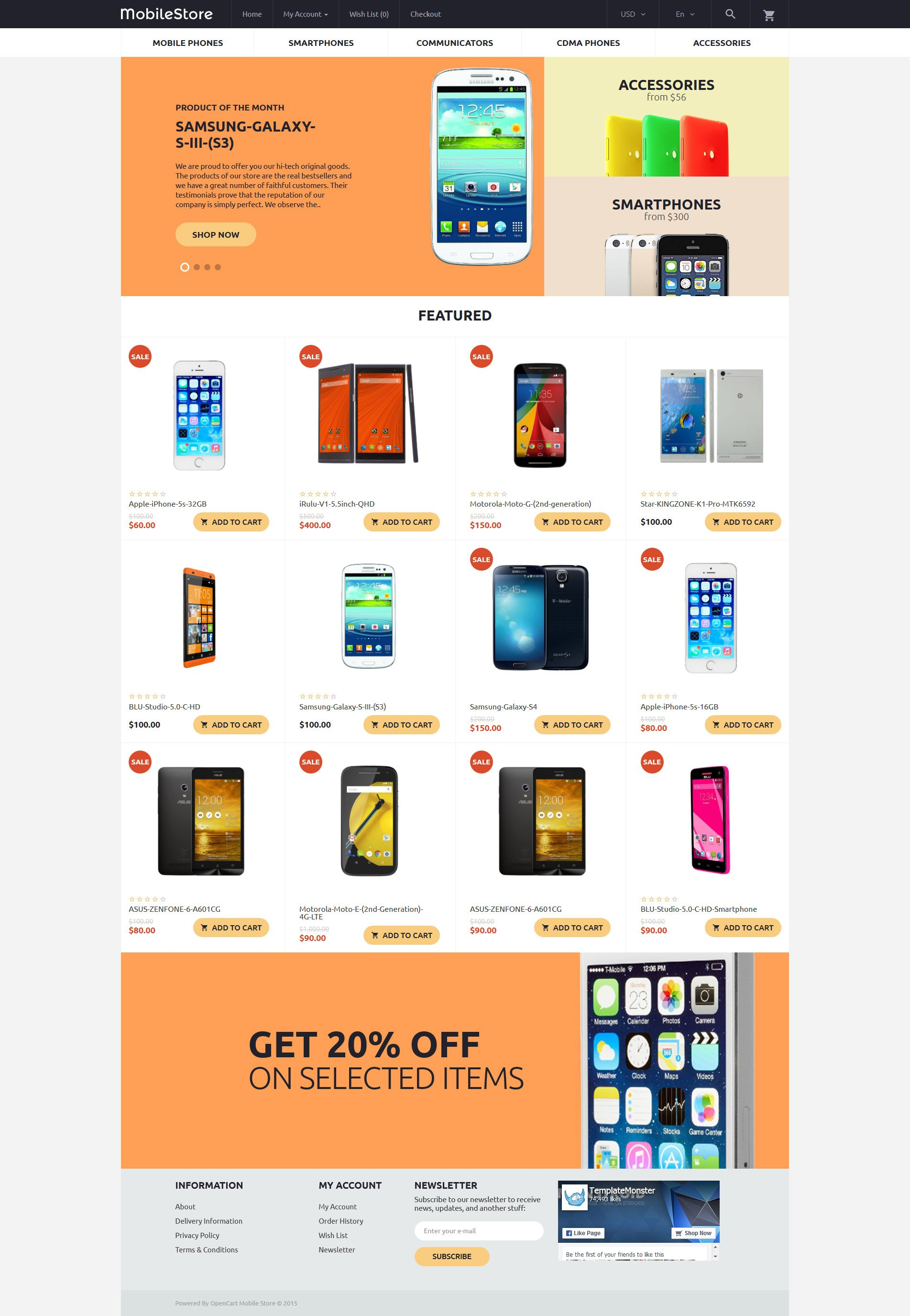 Mobile phones opencart theme for Onlineshop fur mobel