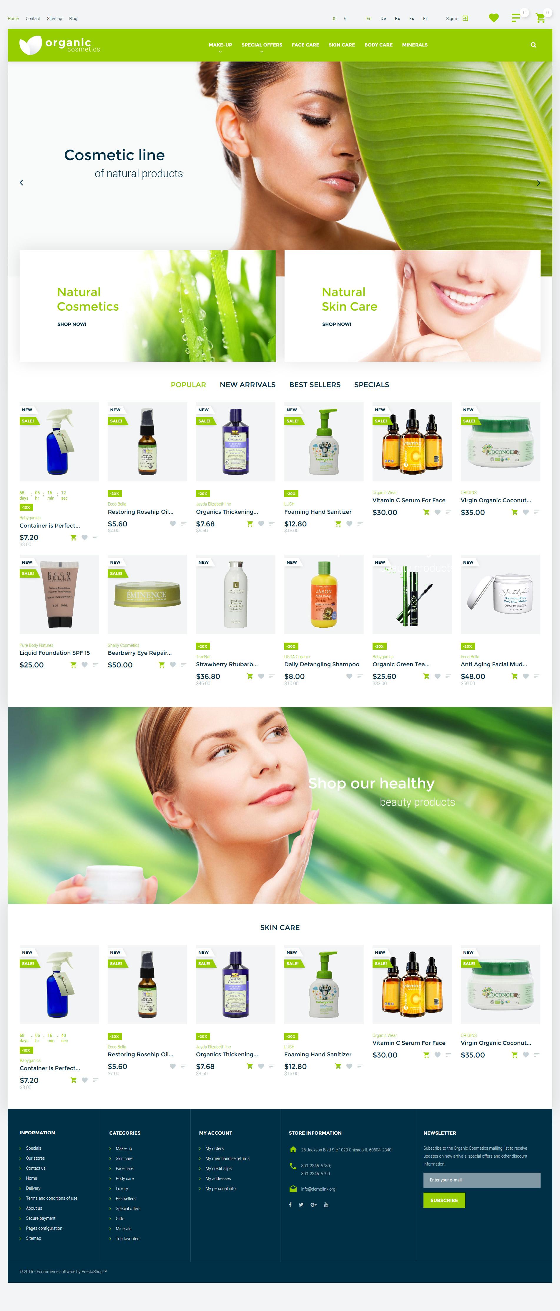 """Organic Cosmetics"" 响应式PrestaShop模板 #57540"