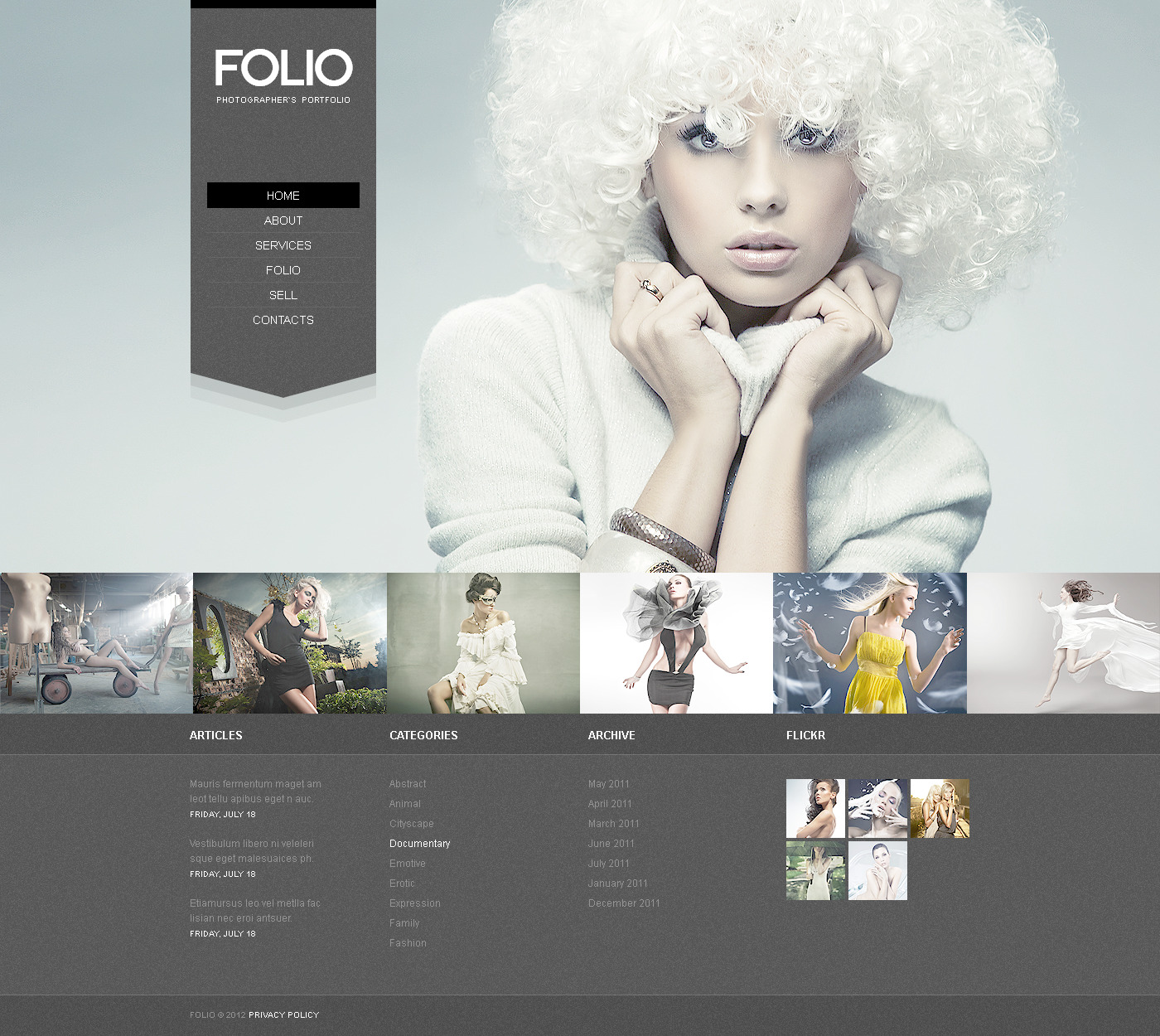 Photographer Portfolio PSD Template - screenshot