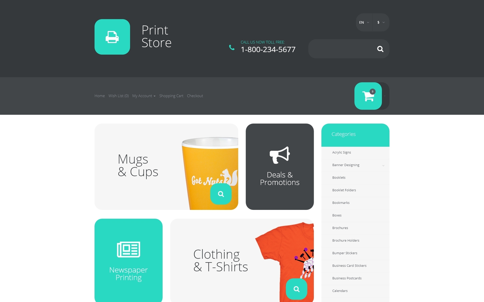 """""""Printing Services OpenCart Template"""" Responsive OpenCart Template №57544"""