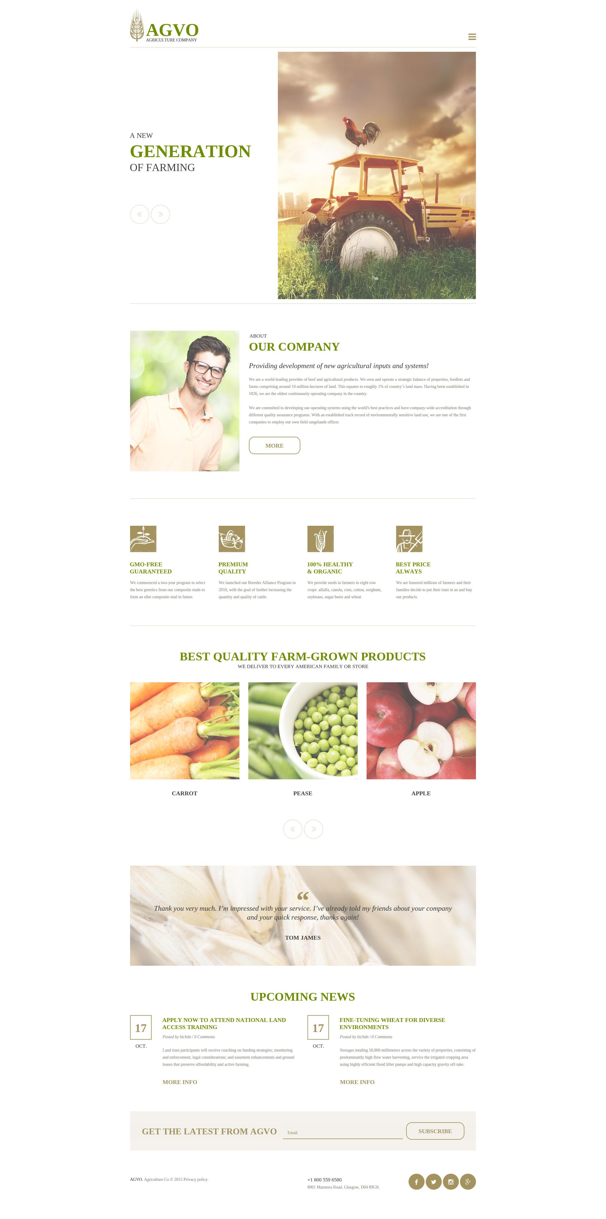 Responsive Website Vorlage für Landwirtschaft #57546 - Screenshot