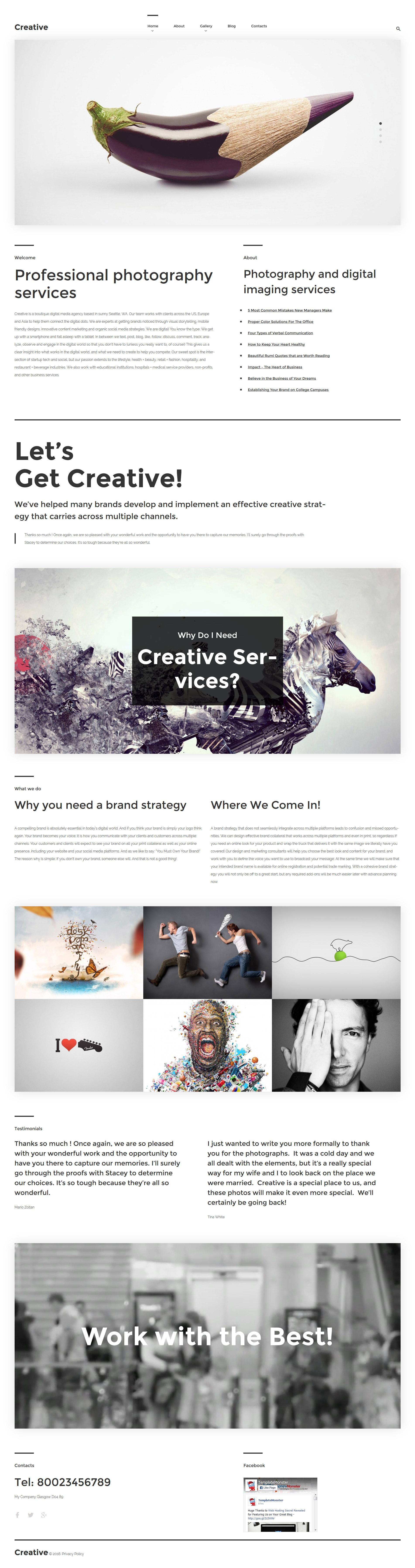 Reszponzív Creative WordPress sablon 57554 - képernyőkép
