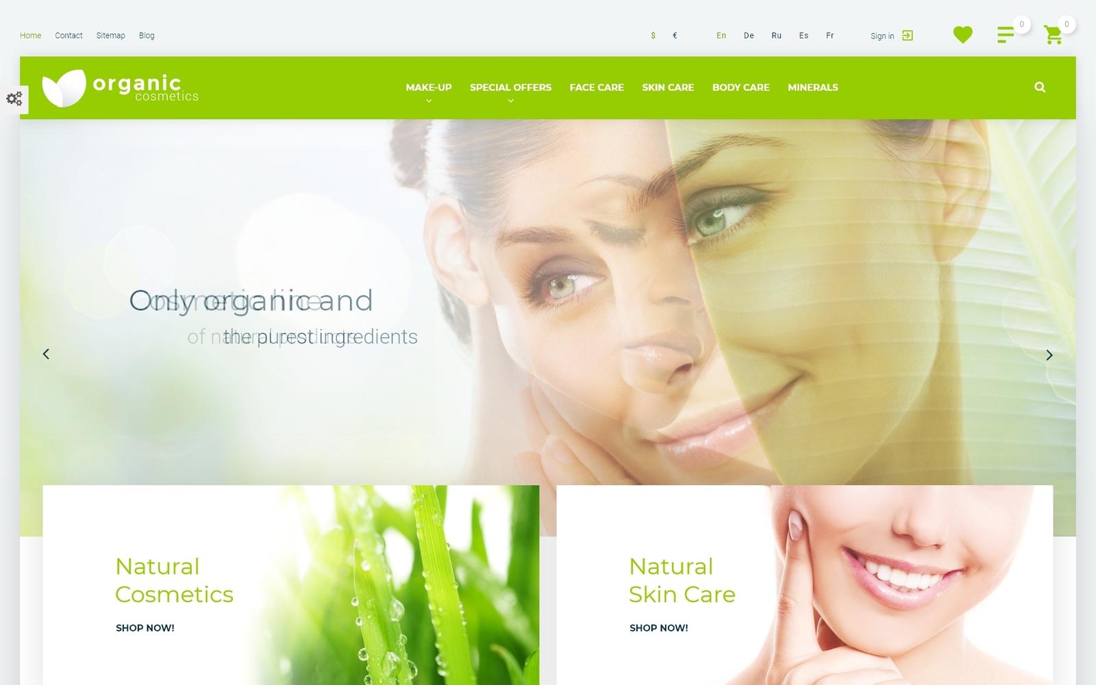 Reszponzív Organic cosmetics - responsive PrestaShop sablon 57540
