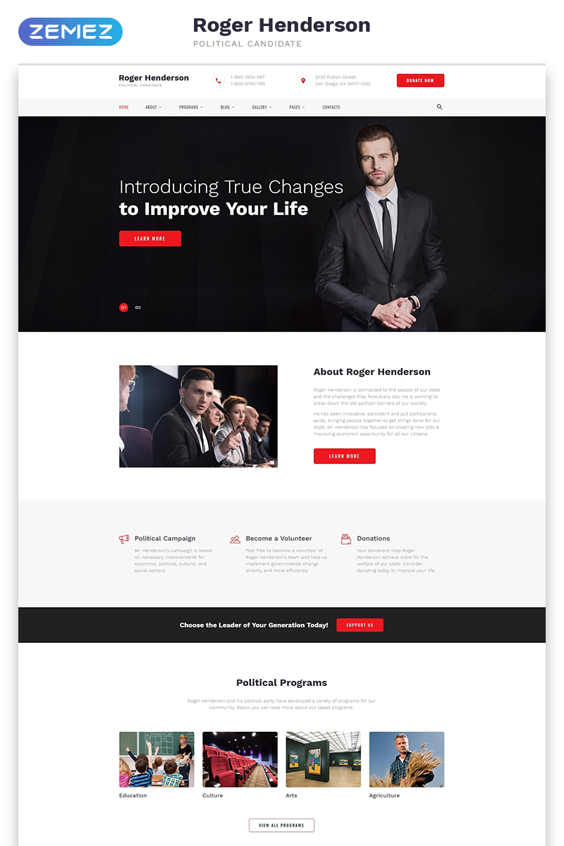 Roger Henderson - Political Candidate Classic Multipage HTML Template Web №57552